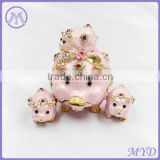 Stylish lovely pig mother and baby girls enameled Russian Faberge egg trinket jewelry box