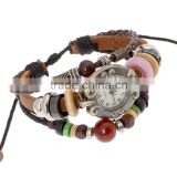 2016 Weave Wrap Synthetic Leather Bracelet Lady Women's Wrist Watch alloy&wood charms personalized Bracelet