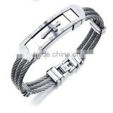 Wholesale Titanium steel man Bangles Three rows between steel wire armoured gold bracelet with cross