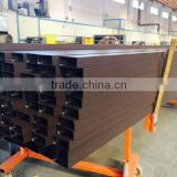 Rectangular shape brown powder coated extruded aluminum decorative profile (aluminum alloy profile, aluminum hollow profile)