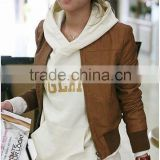 1021040-1 Hot Selling China Wholesale PU Leather Jacket Women Leather Jacket Brown Free Size