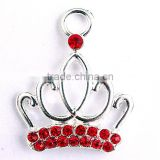 Wholesale AAA Quality Large red rhinestone crown Silver alloy charm cartoon pendants for kids jewelry making!!