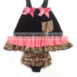 Fashion baby swing top with bloomer set for kid leopard printed cute cotton set
