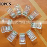 8P8C 8P8CR RJ45 RJ-45 CAT5 Modular Plug Network Connector for Cat5 Cat5e Cat6 Cable