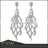 CYW fashion 925 sterling silver earrings dangle, fringe earrings wedding jewelry drop bridal wedding earrings