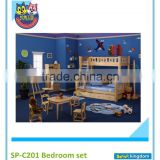 Mid Loft Bed with Straight Ladder, Slide,chest,bookcase #SP-C102C set
