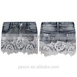 Guangzhou OEM supplier blue and gray lace short skirt women denim jeans wholesale
