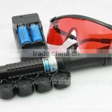 High power blue laser pointer 1w with 5 pattern heads,battery,charger,glasses