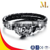 NSSL123 New arrive Men's stainless steel skull love bracelet black leather bangle jewelry