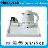 hotel toiletries model white high quality double shell electric plastic kettle with tray set for hotel