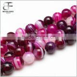 Gorgeous Natural Rose Red Stripe Banded Agate Gemstone Faceted Round Loose Beads Strand for Jewelry Making