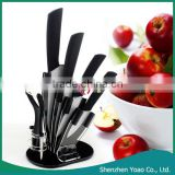 6pcs ABS Handle Zirconia Set Knives With Acrylic Rest Black