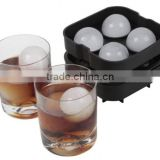 Lifetime Durable Sphere Premium Drink Scotch Water 4 Holes Silicone Ice Ball Maker With Color Box Packing For Party Bar Drinking