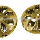 Alloy Beads, Lead Free & Nickel Free, Flat Round, Antique Golden Color, about 17x8mm, hole: 1mm(PALLOY-GK010-AG-FF)