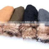 WINTER ACRYLIC WOVEN SCARF WITH ARTIFICIAL FUR