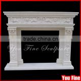 Beautiful Natural Stone Fireplace Surround / Natural Stone Hand Carved Marble Fireplace Mantel Price