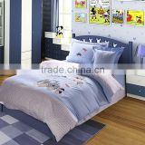 100% cotton plain desige and lovely cartoon comfortable blue kids bedding set for boys