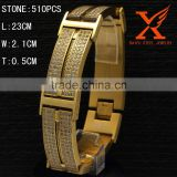 23MM WIDE LAB CNC CZ STONE SETTING MENS STRONGMAN BRACELET STAINLESS STEEL BRACELET HIP HOP BRACELET GOLD/SILVER BLING ICE