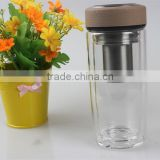 240ML China Supplier Hand Made Double Wall Borosilicate Glass Bottle With Stainless Infuser And Lid,Glass Cup For Tea Making