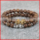 KJL-0116 New Arrival Natural Wood Gold And Silver Plated Double Skull Head Bracelet, 100% Wood Buddhist Bracelet,Meditation Jewe