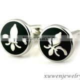 black enamel fleur de lis patterns mens stainless steel cufflinks