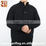 Autumn men high neck long sleeve plus size jumper with button custom reverse jersey & cable computer knit sweater