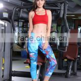 2016 custome made yoga sublimation leggings pants women wholesale 4 way stretch 6 threads