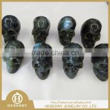 Cheap wholesale hand made natural gemstone labradorite carved decoration skull for sale,crystal skull healing