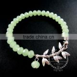 silver bamboo leaf branch charm summer ice green faceted glass beads fashion women wiring bangle bracelet 6490036