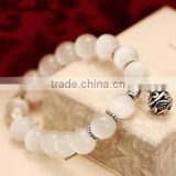 F20076N New fashion natural stones skull bracelet For women crystal opal beads stone bracelet