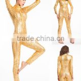 Sexy latex gold catsuit skin tight costume faux leather catsuit for party