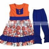 China suppliers Halloween children outfits ruffle sets dress and pants 2 orange buttons summer clothes