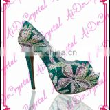 Aidocrystal genuine leather classic sandals green Floral Pattern crystal peep toe high heels shoes