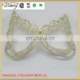 MAS1015 Beauty crystal and rhinestone pageant mask gold party mask, metal masks for sale