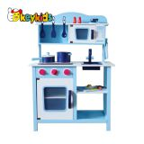 2019 Newly released classic blue wooden toy kitchen set with electronic stove W10C045