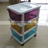 2016 hot selling 3 layers detachable colorful transparent plastic storage drawer, locker, cabinet