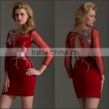 Elegant Red Attractive Cocktail Dress with Beaded Flowers Hot Sale High Quality Three Quarter Sleeve Sheath Mini Cocktail Dress