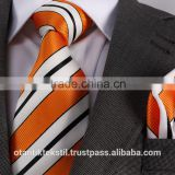 Orange White Striped Necktie set with pocket square, neck tie, corbata, gravate, krawatte, cravatta, fashion tie