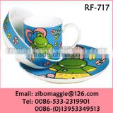 Zibo Manufacture Daily Used Tableware Porcelain Breakfast Tea Set with Cartoon Print for Children