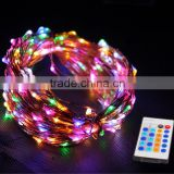 DC12V christmas decorative rgb magic color led copper wire string lights kit with rf 24key remote controller