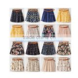 2015 Vintage New Fashion Leopard Summer Chiffon Women Skirts Casual Floral Summer Dress Short Skirts
