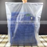 Recyclable plastic zipper bag with air hole for jeans/ environmental protection zip slider plastic bag for jeans