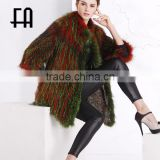 Factory wholesale price raccoon fur knitted coat /raccoon fur knit jacket
