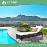Modern luxury beach garden wicker rattan sun lounger sunbed daybed for hotel swimming pool