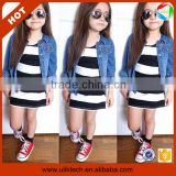 Fall casual long sleeve denim coat and stripe dress beat price kids trendy clothing (Ulik-A0396)