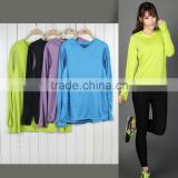 fitness Outdoor sport camping &hiking running long sleeve dry fit t shirt women