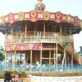 Direct selling ! Fashionable Design amusement rides double decker carousel outdoor for 48 people for Sale