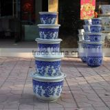 Factory 7 sizes set garden blue and white porcelain flower pot with tray                                                                                                         Supplier's Choice