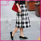 New Fashion Woven Black and White Casual Design Long Plaid Skirt, Pleated Plaid Skirt