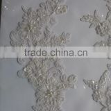 high quality tulle embroidery fabric with beads+flower applique for evening dress, hand embroidery designs for suit